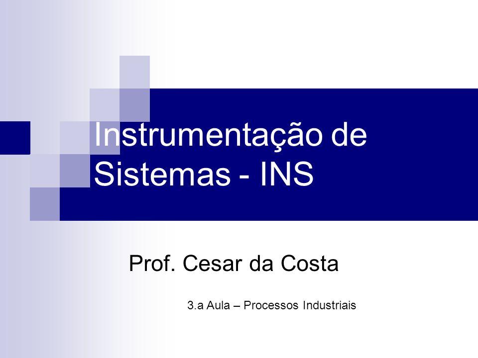 Instrumentação de Sistemas - INS Prof. Cesar da Costa 3.a Aula – Processos Industriais