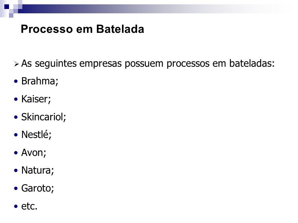 Processo em Batelada As seguintes empresas possuem processos em bateladas: Brahma; Kaiser; Skincariol; Nestlé; Avon; Natura; Garoto; etc.