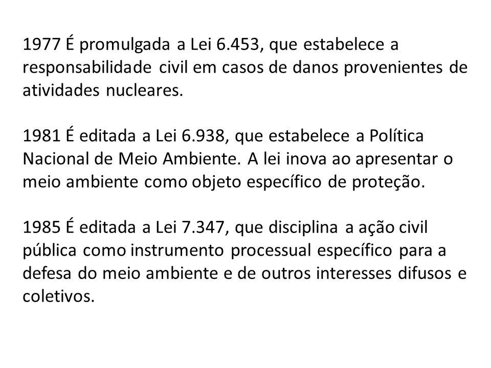 1977 É promulgada a Lei 6.453, que estabelece a responsabilidade civil em casos de danos provenientes de atividades nucleares. 1981 É editada a Lei 6.