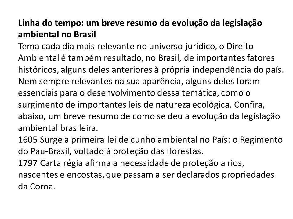 Linha do tempo: um breve resumo da evolução da legislação ambiental no Brasil Tema cada dia mais relevante no universo jurídico, o Direito Ambiental é