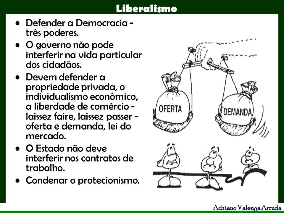 Liberalismo Adriano Valenga Arruda Defender a Democracia - três poderes. O governo não pode interferir na vida particular dos cidadãos. Devem defender