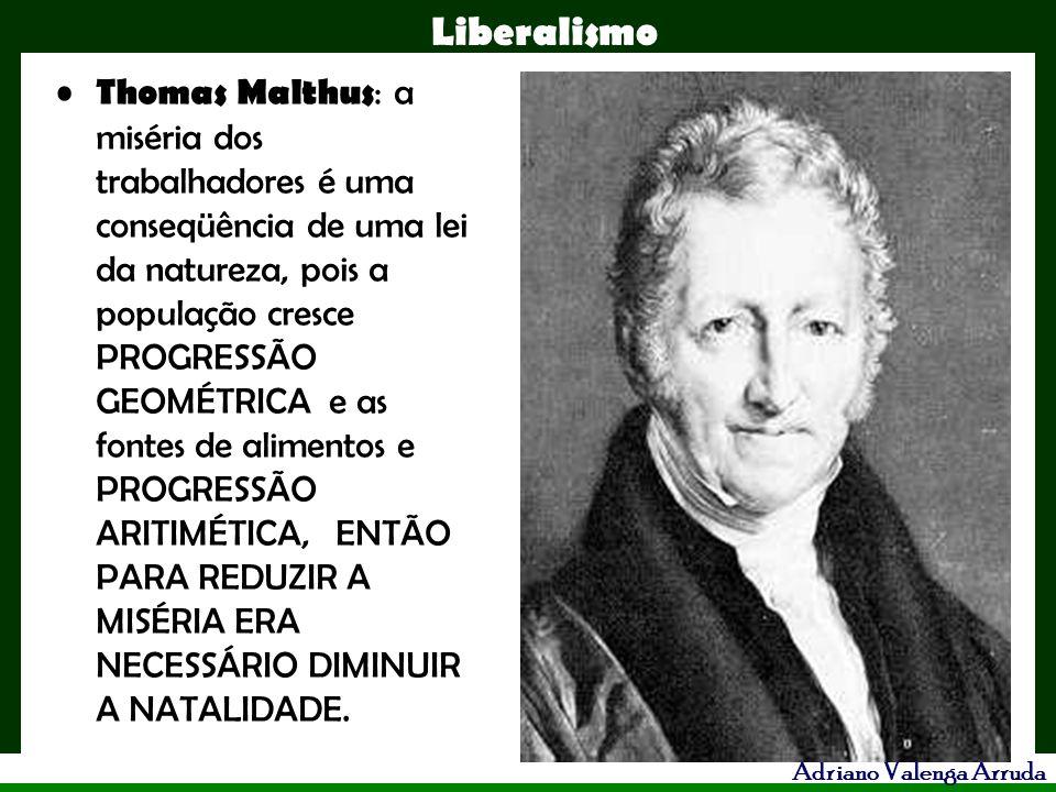 Liberalismo Adriano Valenga Arruda Thomas Malthus : a miséria dos trabalhadores é uma conseqüência de uma lei da natureza, pois a população cresce PRO
