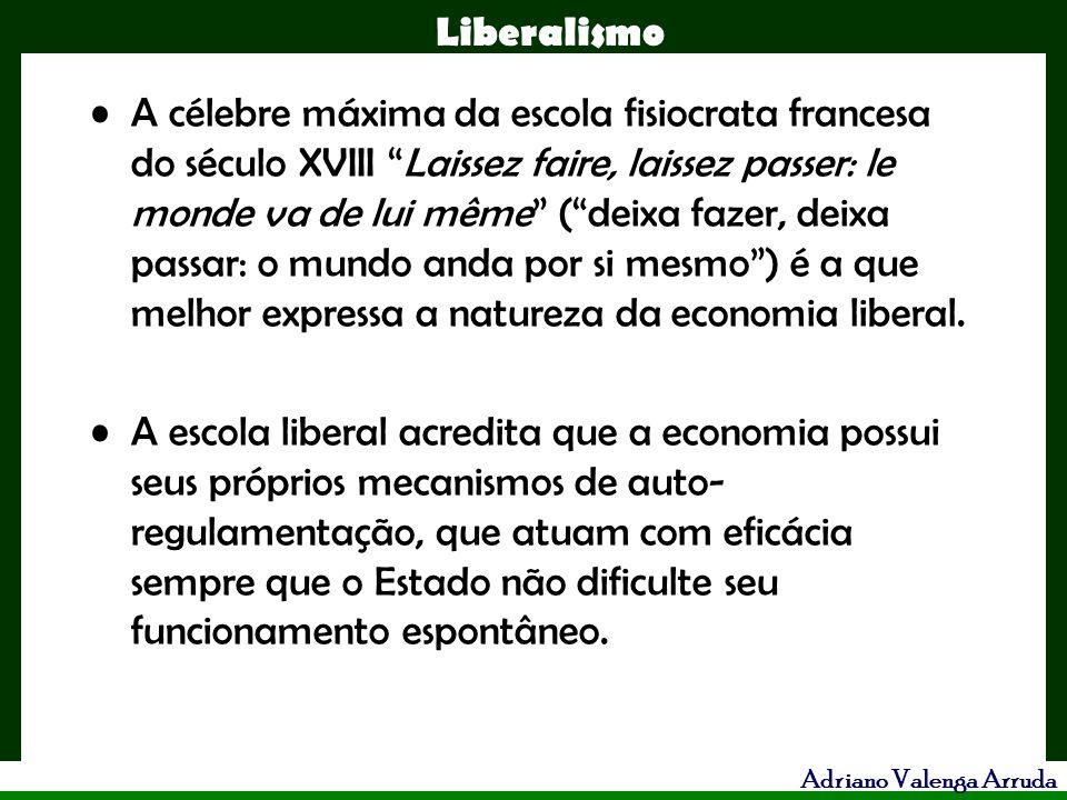 Liberalismo Adriano Valenga Arruda A célebre máxima da escola fisiocrata francesa do século XVIII Laissez faire, laissez passer: le monde va de lui mê