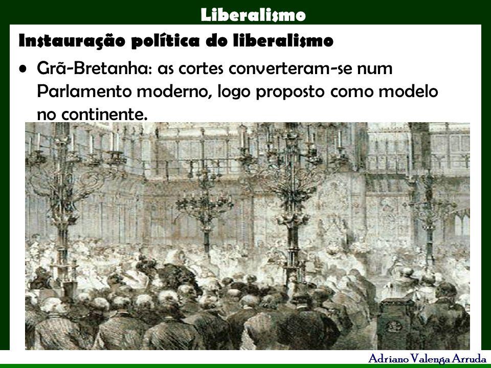 Liberalismo Adriano Valenga Arruda Instauração política do liberalismo Grã-Bretanha: as cortes converteram-se num Parlamento moderno, logo proposto co