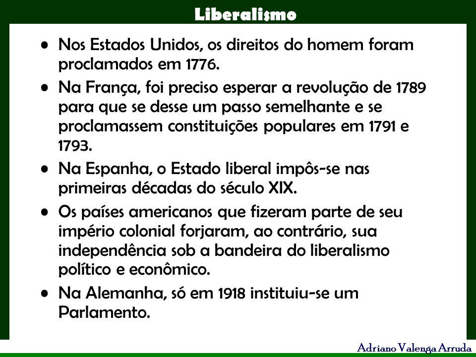 Liberalismo Adriano Valenga Arruda Nos Estados Unidos, os direitos do homem foram proclamados em 1776. Na França, foi preciso esperar a revolução de 1