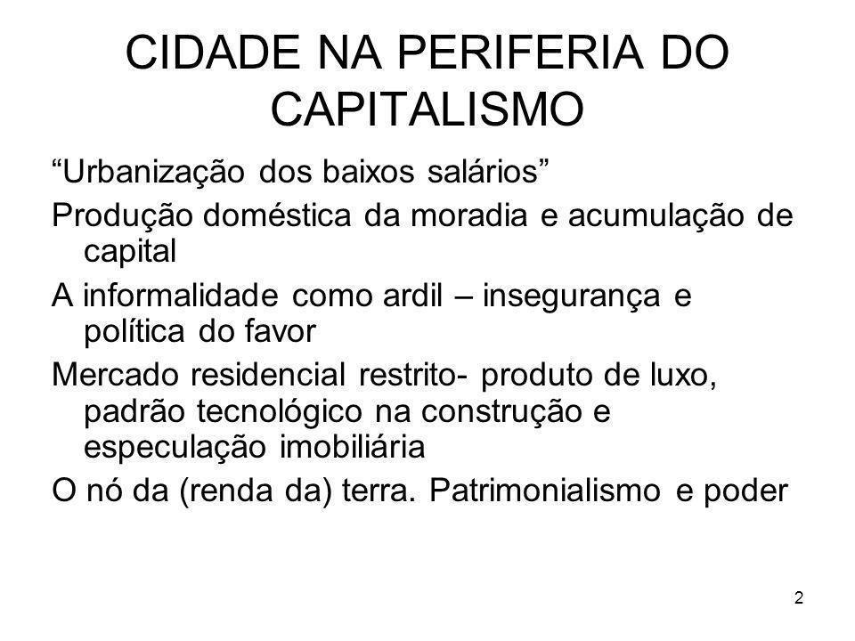 CIDADE NA PERIFERIA DO CAPITALISMO Urbanização dos baixos salários Produção doméstica da moradia e acumulação de capital A informalidade como ardil –