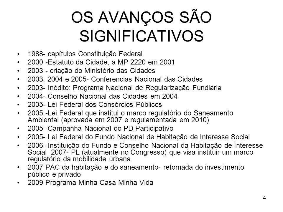 OS AVANÇOS SÃO SIGNIFICATIVOS 1988- capítulos Constituição Federal 2000 -Estatuto da Cidade, a MP 2220 em 2001 2003 - criação do Ministério das Cidade