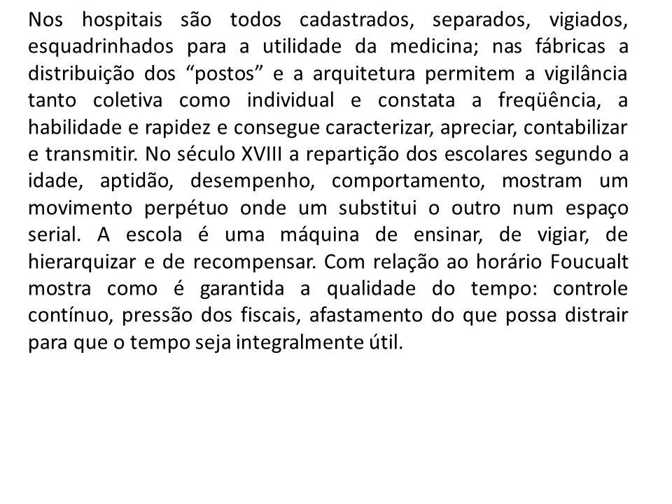 Nos hospitais são todos cadastrados, separados, vigiados, esquadrinhados para a utilidade da medicina; nas fábricas a distribuição dos postos e a arqu