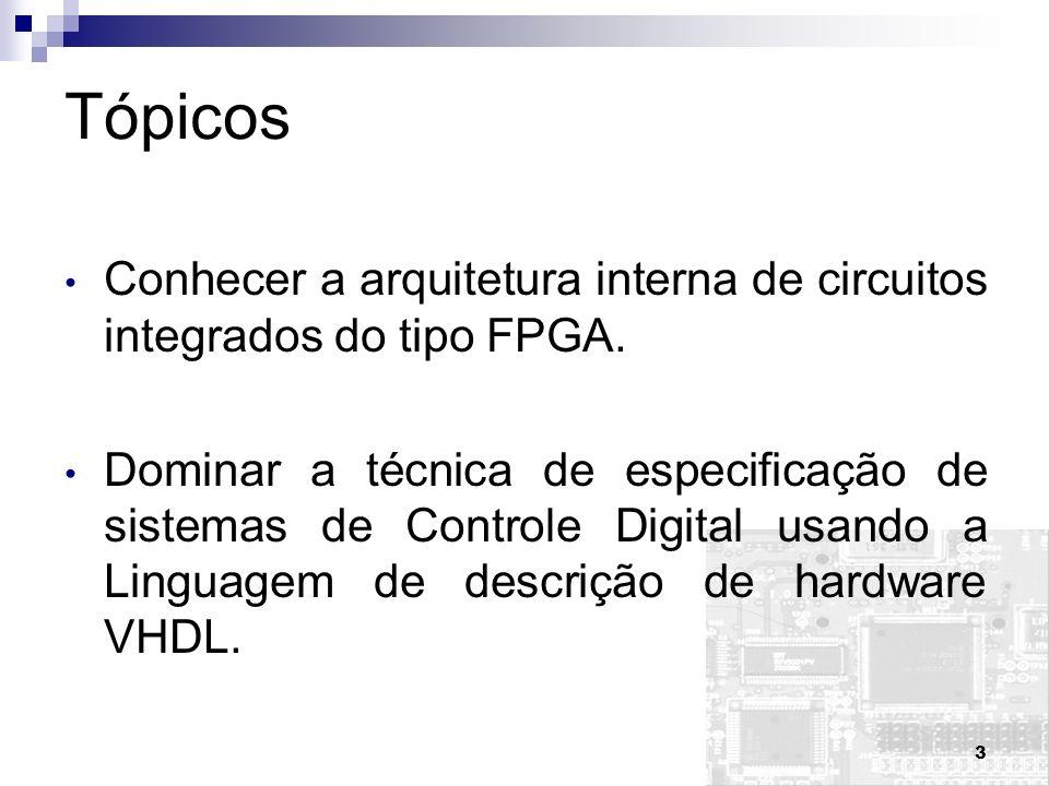 4 Tópicos Capacitar o aluno a descrever sistemas de controle digital em VHDL e implementá-los em FPGA.