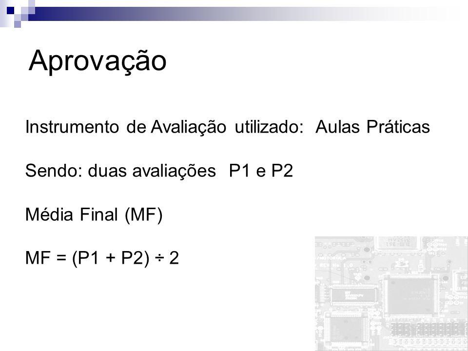 Aprovação Instrumento de Avaliação utilizado: Aulas Práticas Sendo: duas avaliações P1 e P2 Média Final (MF) MF = (P1 + P2) ÷ 2