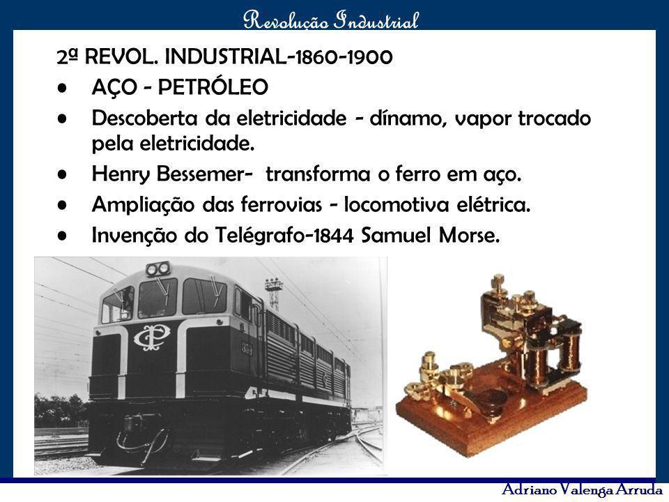 O maior conflito da história Revolução Industrial Adriano Valenga Arruda 2ª REVOL. INDUSTRIAL-1860-1900 AÇO - PETRÓLEO Descoberta da eletricidade - dí