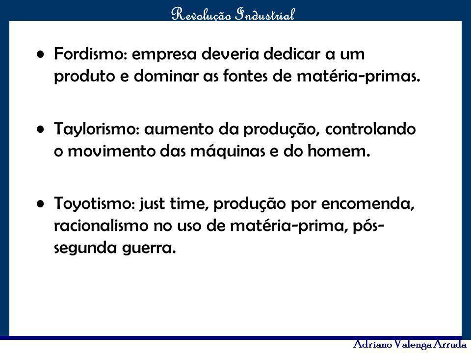 O maior conflito da história Revolução Industrial Adriano Valenga Arruda Fordismo: empresa deveria dedicar a um produto e dominar as fontes de matéria