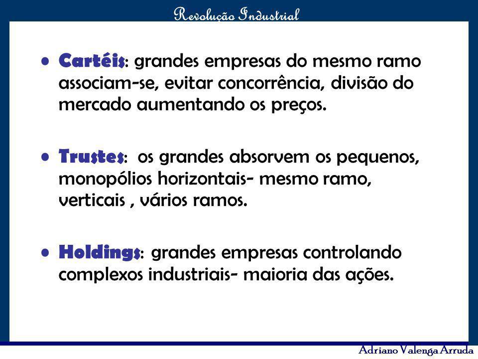O maior conflito da história Revolução Industrial Adriano Valenga Arruda Cartéis : grandes empresas do mesmo ramo associam-se, evitar concorrência, di