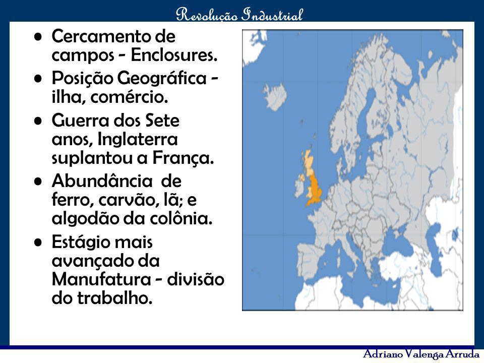 O maior conflito da história Revolução Industrial Adriano Valenga Arruda Cercamento de campos - Enclosures. Posição Geográfica - ilha, comércio. Guerr