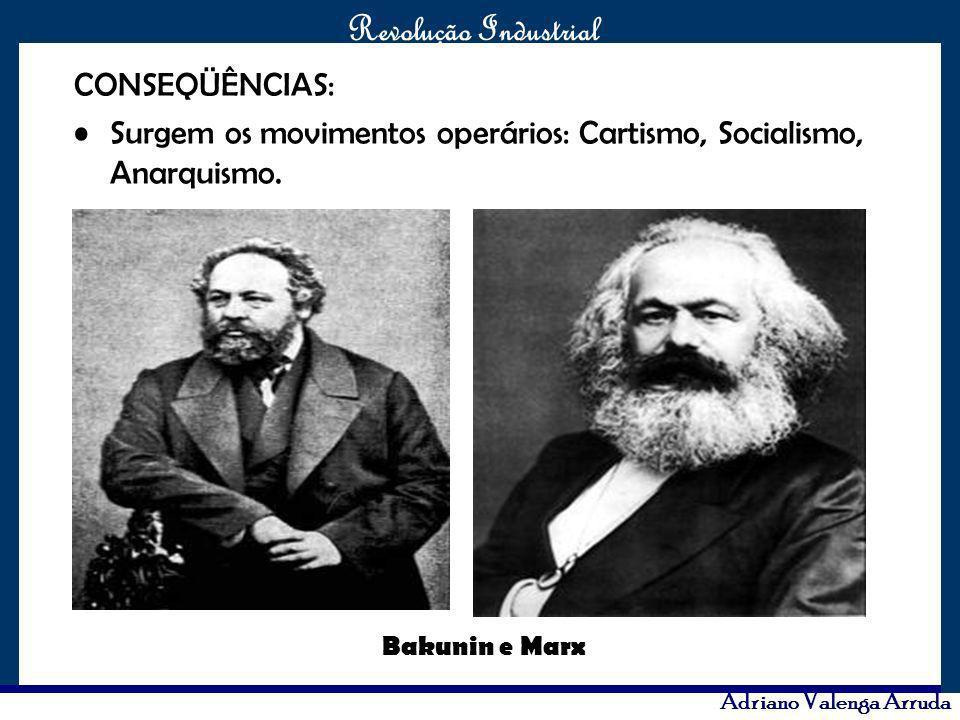 O maior conflito da história Revolução Industrial Adriano Valenga Arruda CONSEQÜÊNCIAS: Surgem os movimentos operários: Cartismo, Socialismo, Anarquis