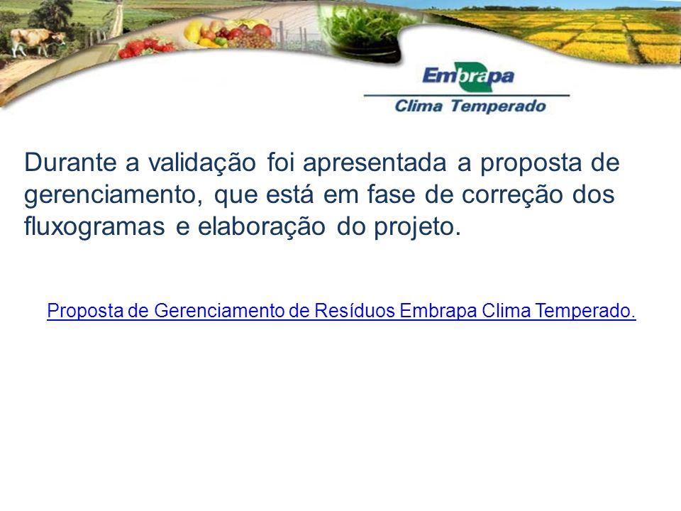 Proposta de Gerenciamento de Resíduos Embrapa Clima Temperado. Durante a validação foi apresentada a proposta de gerenciamento, que está em fase de co