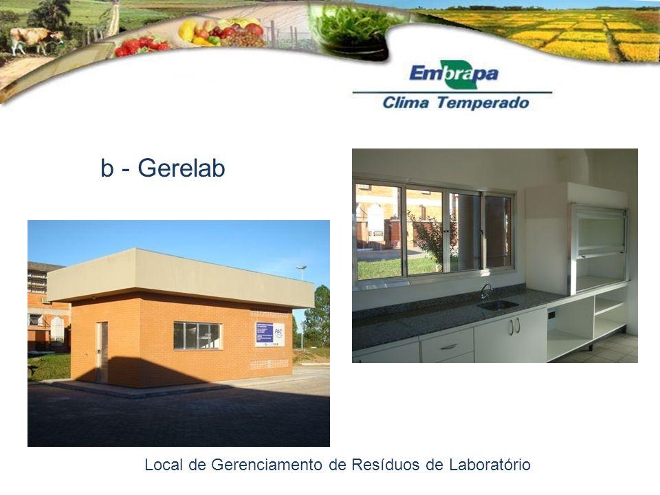 b - Gerelab Local de Gerenciamento de Resíduos de Laboratório