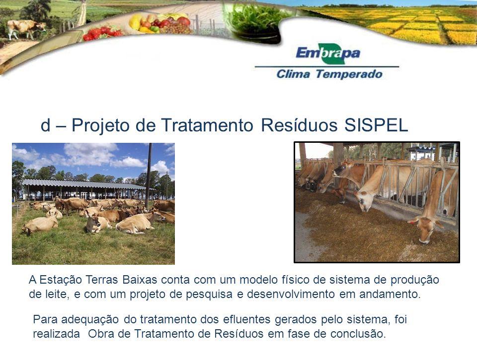 d – Projeto de Tratamento Resíduos SISPEL A Estação Terras Baixas conta com um modelo físico de sistema de produção de leite, e com um projeto de pesq