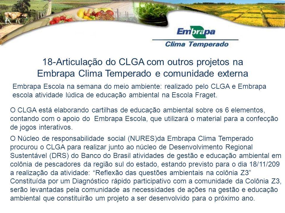 Embrapa Escola na semana do meio ambiente: realizado pelo CLGA e Embrapa escola atividade lúdica de educação ambiental na Escola Fraget. O CLGA está e
