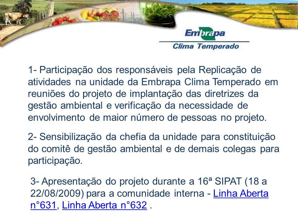 1- Participação dos responsáveis pela Replicação de atividades na unidade da Embrapa Clima Temperado em reuniões do projeto de implantação das diretri