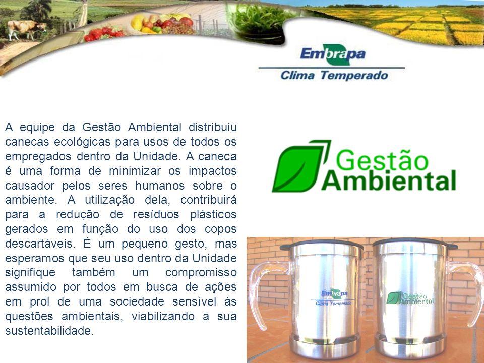 A equipe da Gestão Ambiental distribuiu canecas ecológicas para usos de todos os empregados dentro da Unidade. A caneca é uma forma de minimizar os im