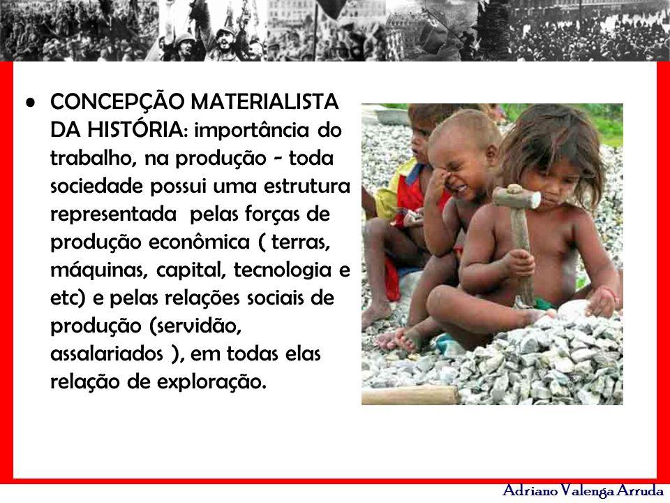 Adriano Valenga Arruda CONCEPÇÃO MATERIALISTA DA HISTÓRIA: importância do trabalho, na produção - toda sociedade possui uma estrutura representada pel