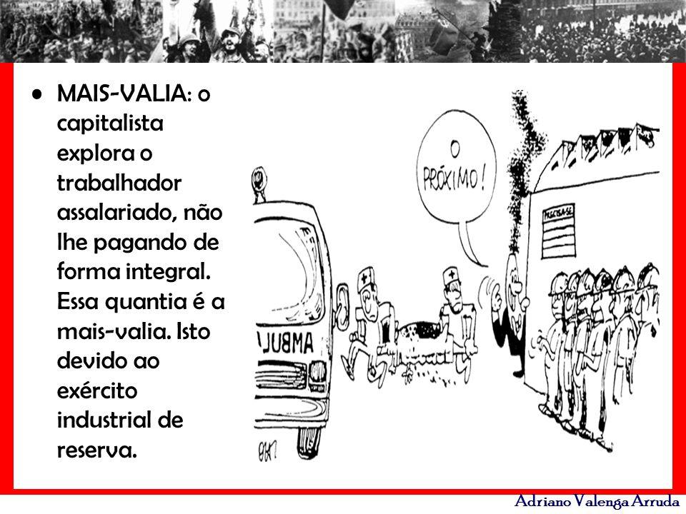 Adriano Valenga Arruda MAIS-VALIA: o capitalista explora o trabalhador assalariado, não lhe pagando de forma integral. Essa quantia é a mais-valia. Is