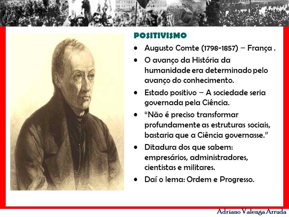 Adriano Valenga Arruda POSITIVISMO Augusto Comte (1798-1857) – França. O avanço da História da humanidade era determinado pelo avanço do conhecimento.