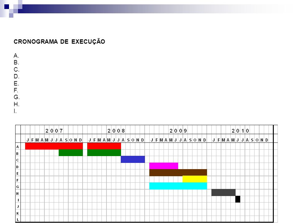 CRONOGRAMA DE EXECUÇÃO A. B. C. D. E. F. G. H. I.