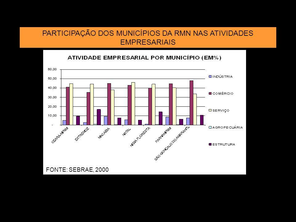 FONTE: SEBRAE, 2000 PARTICIPAÇÃO DOS MUNICÍPIOS DA RMN NAS ATIVIDADES EMPRESARIAIS