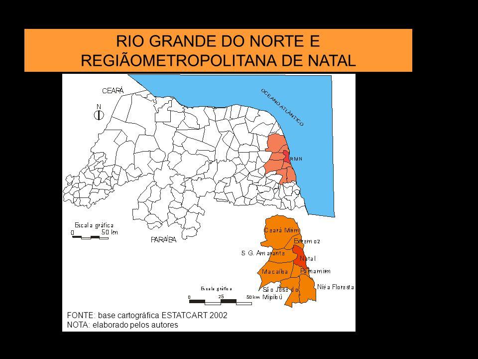 RIO GRANDE DO NORTE E REGIÃOMETROPOLITANA DE NATAL FONTE: base cartográfica ESTATCART 2002 NOTA: elaborado pelos autores
