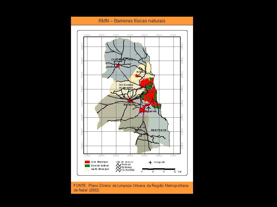 RMN – Barreiras físicas naturais FONTE: Plano Diretor de Limpeza Urbana da Região Metropolitana de Natal (2002)