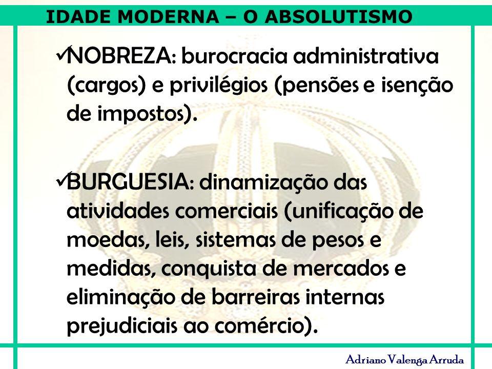 IDADE MODERNA – O ABSOLUTISMO Adriano Valenga Arruda NOBREZA: burocracia administrativa (cargos) e privilégios (pensões e isenção de impostos). BURGUE