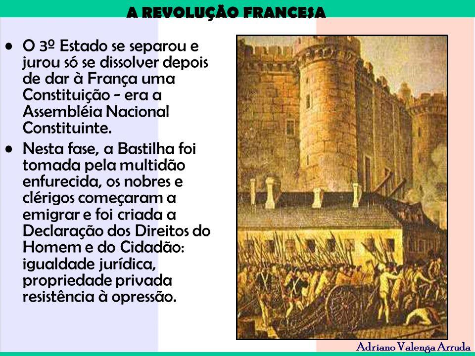 A REVOLUÇÃO FRANCESA Adriano Valenga Arruda O 3º Estado se separou e jurou só se dissolver depois de dar à França uma Constituição - era a Assembléia