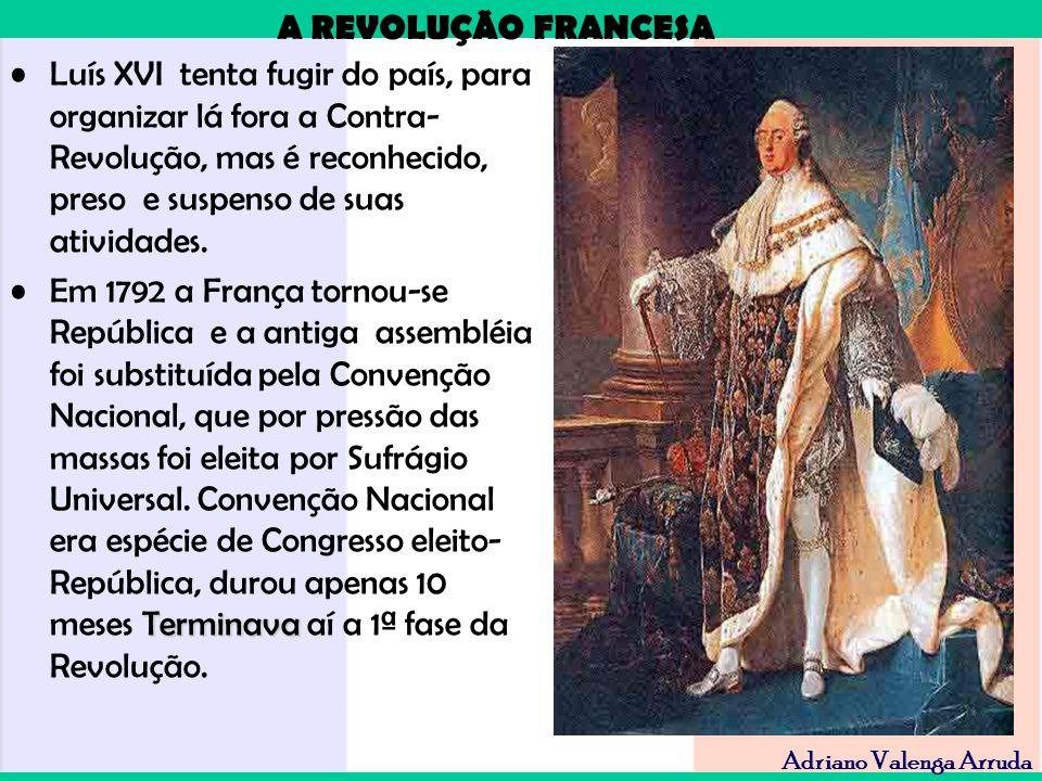 A REVOLUÇÃO FRANCESA Adriano Valenga Arruda Luís XVI tenta fugir do país, para organizar lá fora a Contra- Revolução, mas é reconhecido, preso e suspe