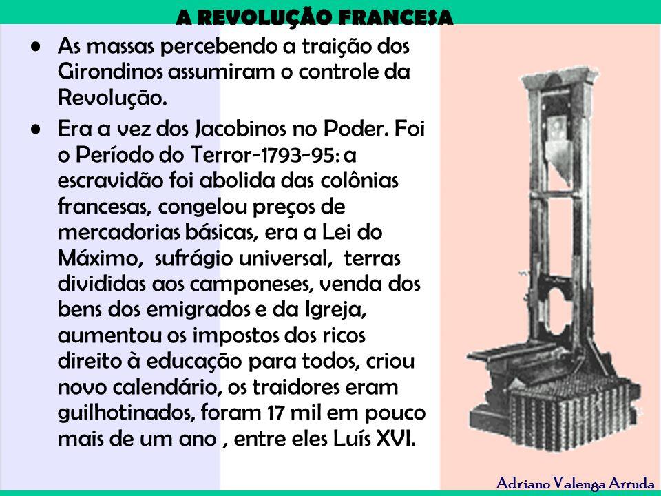 A REVOLUÇÃO FRANCESA Adriano Valenga Arruda As massas percebendo a traição dos Girondinos assumiram o controle da Revolução. Era a vez dos Jacobinos n