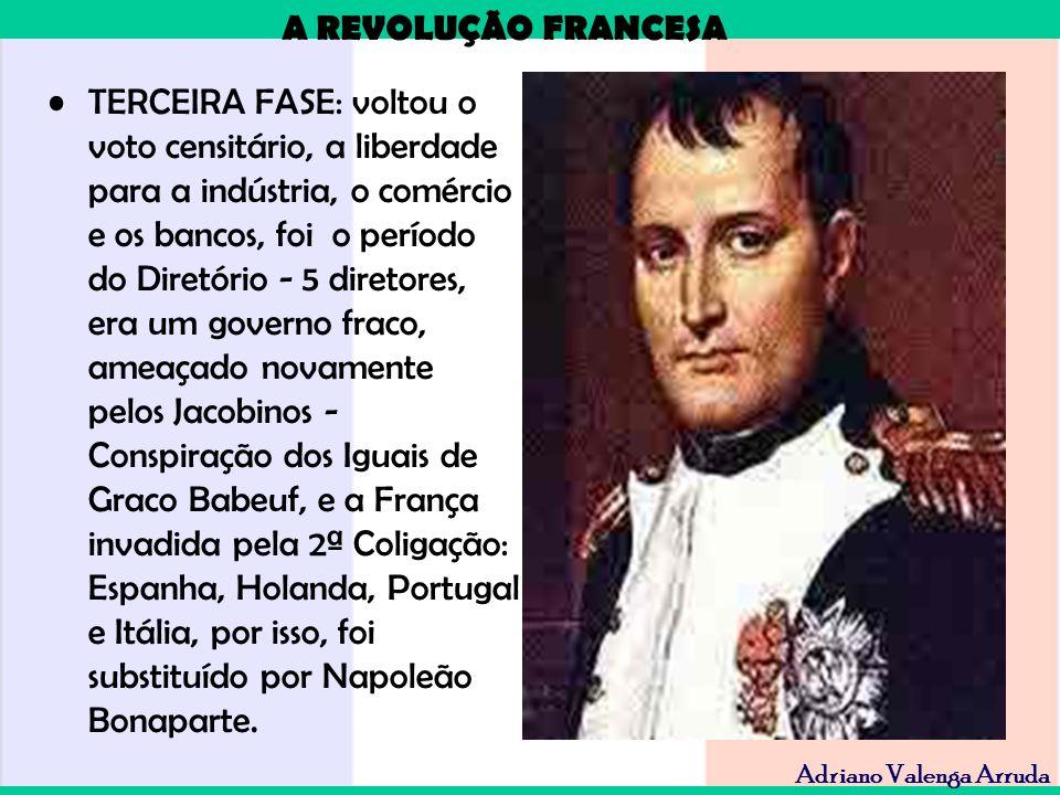 A REVOLUÇÃO FRANCESA Adriano Valenga Arruda TERCEIRA FASE: voltou o voto censitário, a liberdade para a indústria, o comércio e os bancos, foi o perío