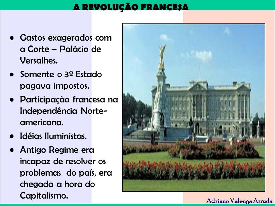 A REVOLUÇÃO FRANCESA Adriano Valenga Arruda Gastos exagerados com a Corte – Palácio de Versalhes. Somente o 3º Estado pagava impostos. Participação fr