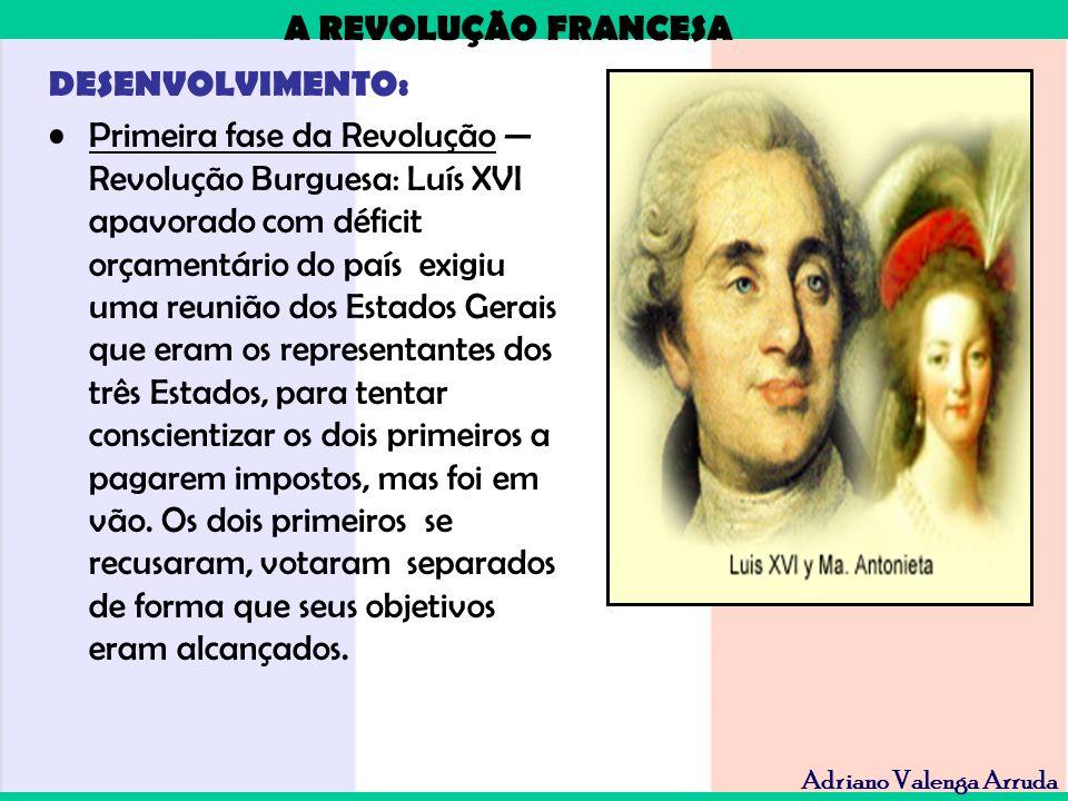 A REVOLUÇÃO FRANCESA Adriano Valenga Arruda DESENVOLVIMENTO: Primeira fase da Revolução Revolução Burguesa: Luís XVI apavorado com déficit orçamentári