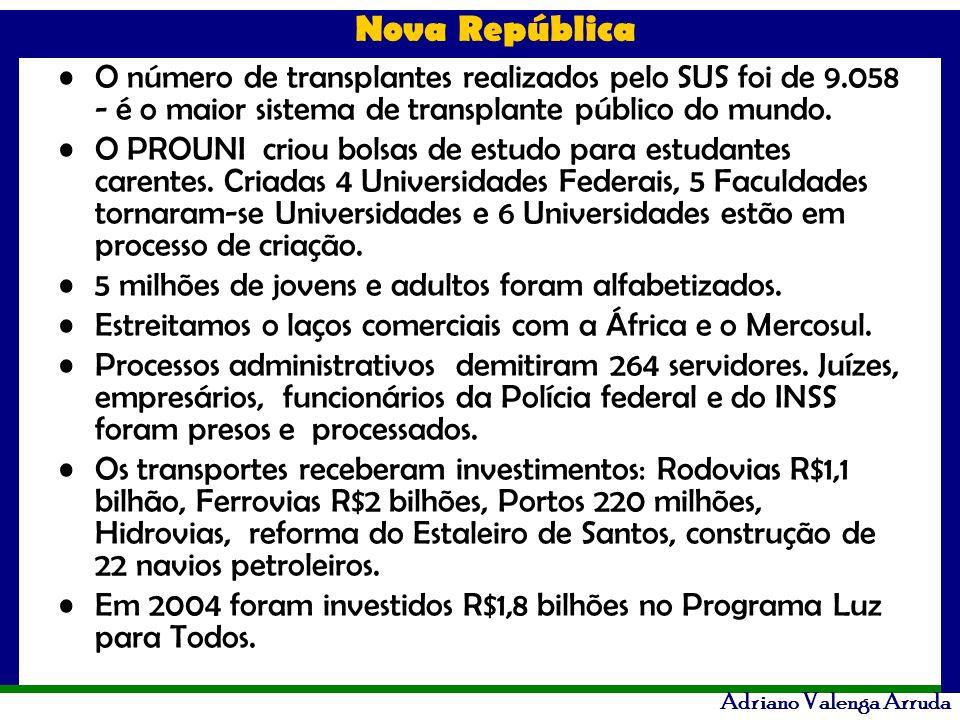 Nova República Adriano Valenga Arruda O número de transplantes realizados pelo SUS foi de 9.058 - é o maior sistema de transplante público do mundo. O