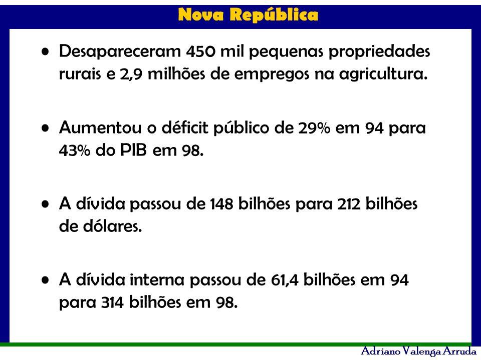 Nova República Adriano Valenga Arruda Desapareceram 450 mil pequenas propriedades rurais e 2,9 milhões de empregos na agricultura. Aumentou o déficit