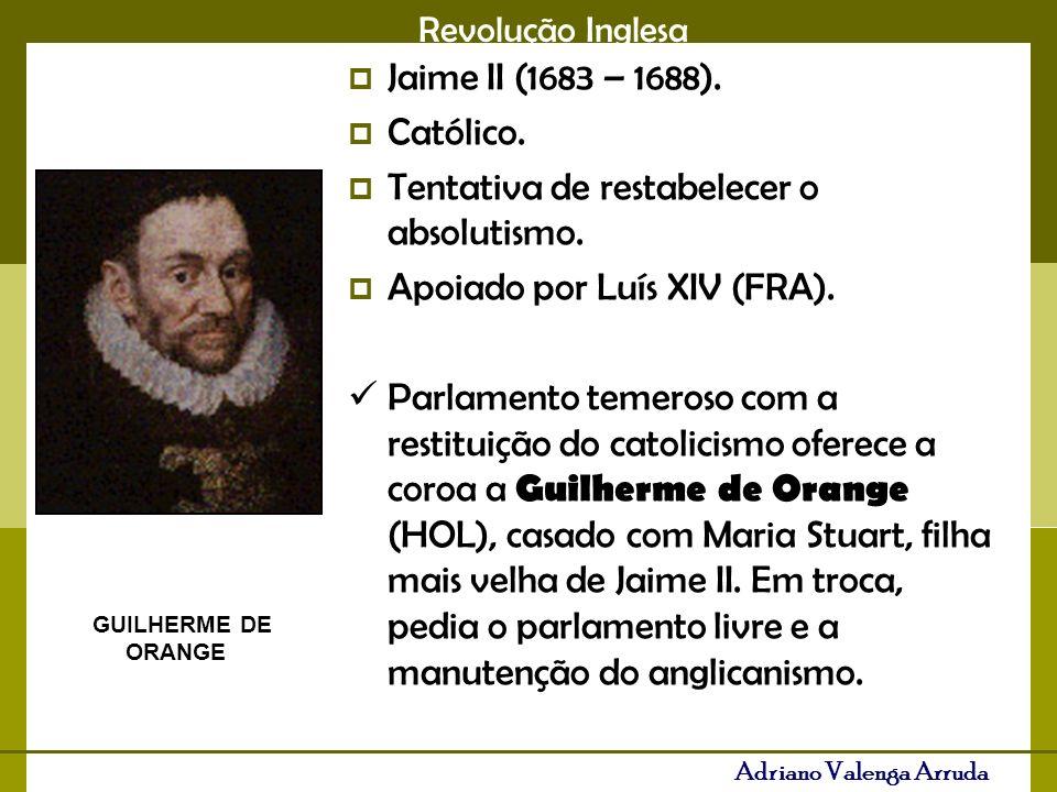 Revolução Inglesa Adriano Valenga Arruda Jaime II (1683 – 1688). Católico. Tentativa de restabelecer o absolutismo. Apoiado por Luís XIV (FRA). Parlam