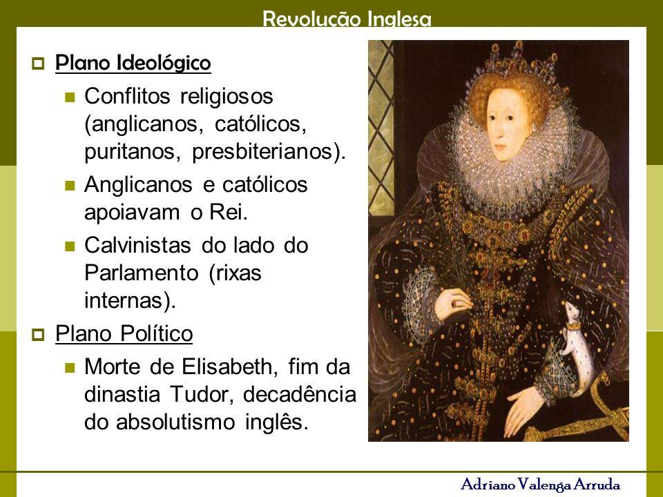 Revolução Inglesa Adriano Valenga Arruda Plano Ideológico Conflitos religiosos (anglicanos, católicos, puritanos, presbiterianos). Anglicanos e católi