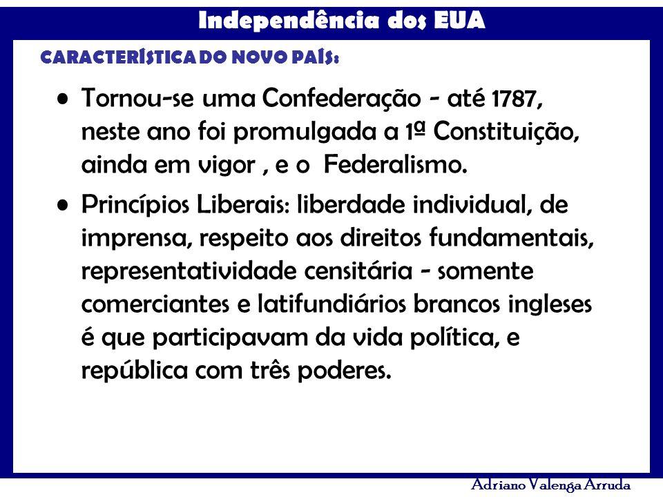 Independência dos EUA Adriano Valenga Arruda CARACTERÍSTICA DO NOVO PAÍS: Tornou-se uma Confederação - até 1787, neste ano foi promulgada a 1ª Constit