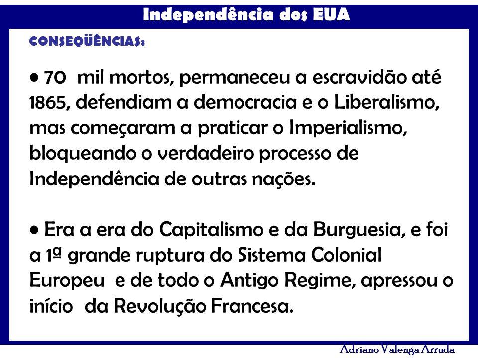 Independência dos EUA Adriano Valenga Arruda CONSEQÜÊNCIAS: 70 mil mortos, permaneceu a escravidão até 1865, defendiam a democracia e o Liberalismo, m