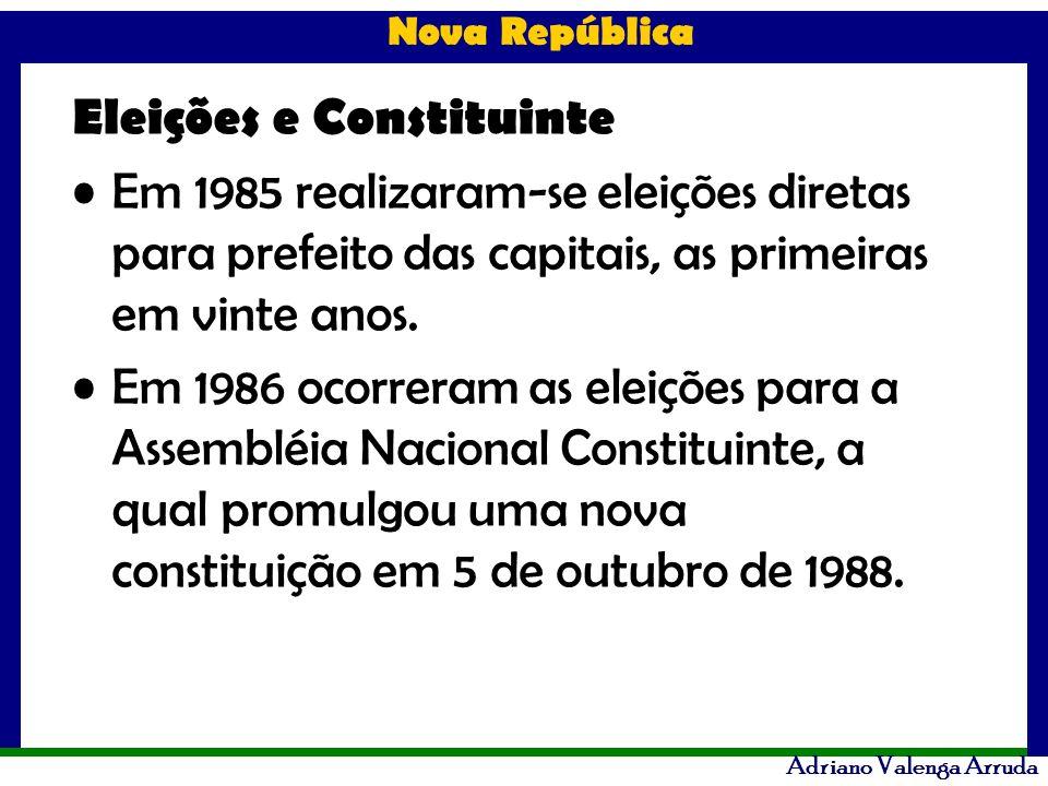 Nova República Adriano Valenga Arruda Eleições e Constituinte Em 1985 realizaram-se eleições diretas para prefeito das capitais, as primeiras em vinte