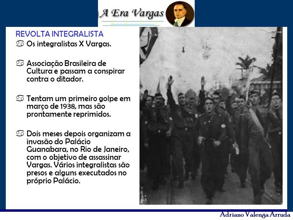 REVOLTA INTEGRALISTA aOs integralistas X Vargas. aAssociação Brasileira de Cultura e passam a conspirar contra o ditador. aTentam um primeiro golpe em