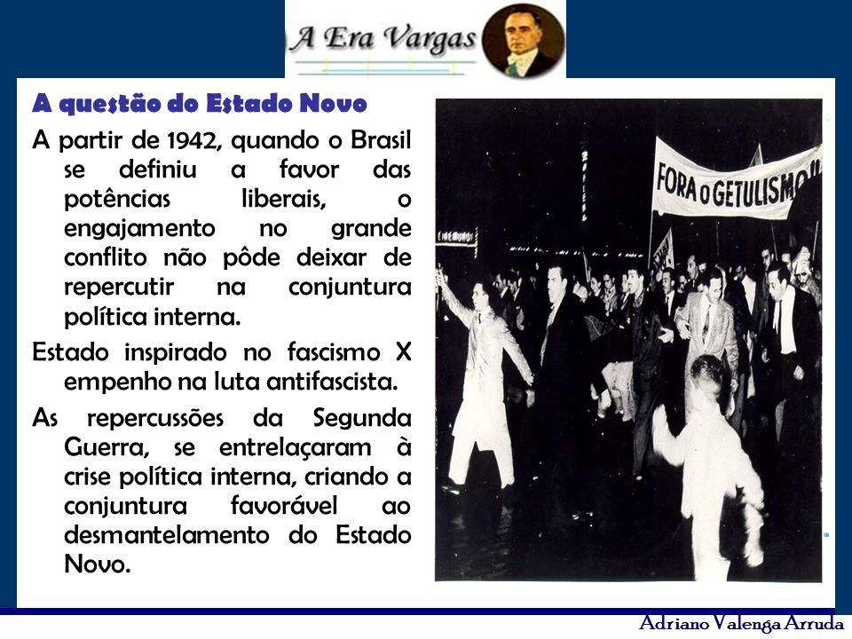 A questão do Estado Novo A partir de 1942, quando o Brasil se definiu a favor das potências liberais, o engajamento no grande conflito não pôde deixar