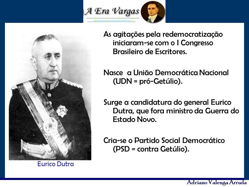 Adriano Valenga Arruda As agitações pela redemocratização iniciaram-se com o I Congresso Brasileiro de Escritores. Nasce a União Democrática Nacional