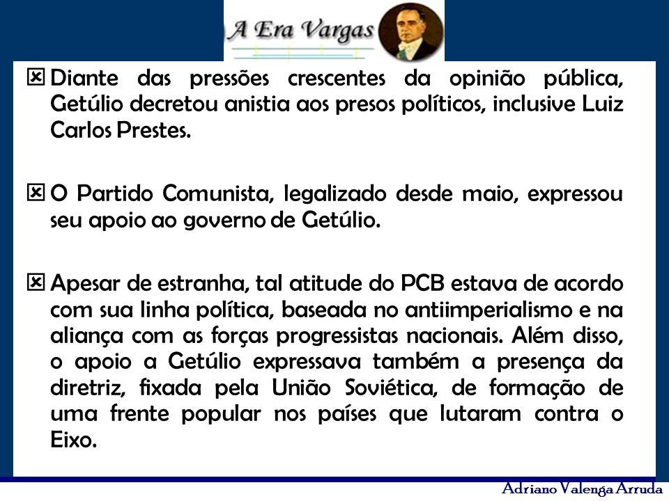 Adriano Valenga Arruda Diante das pressões crescentes da opinião pública, Getúlio decretou anistia aos presos políticos, inclusive Luiz Carlos Prestes